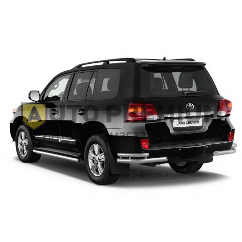 Защита заднего бампера двойная угловая 51/63мм (НПС) Toyota LAND CRUISER 200 2016-